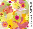 Colorful seamless summer butterfly flower pattern in vector - stock photo