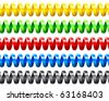 Colorful seamless twisted wire set on white background. - stock vector