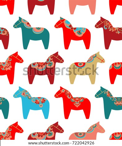 Colorful seamless vector pattern with Scandinavian Christmas horses on white background