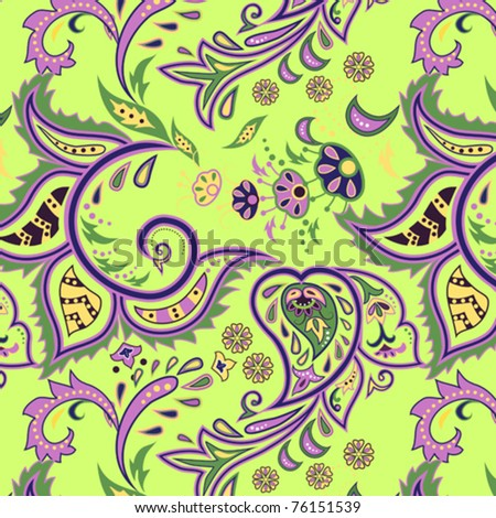 Colorful seamless with eastern patterns on green background. - stock vector