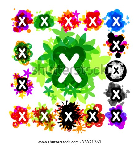 Colorful set of a funny alphabet letter x - stock vector