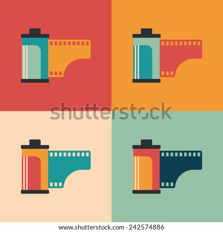 Colorful set of camera film rolls. - stock vector