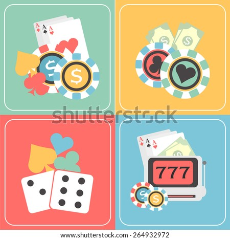 Colorful set of Casino elements with playing cards, cards symbols, poker chips and slot machine. - stock vector