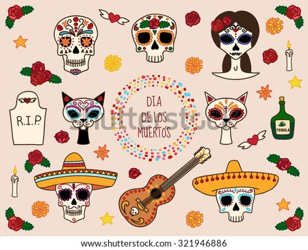 Colorful set of characters for dia de los muertos (day of the dead) and halloween. Skull in sombrero, guitar, cats, Catrina, tequila, flowers, tombstone. Vector eps10. - stock vector