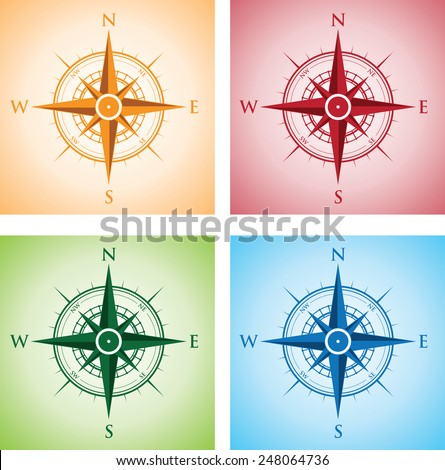 colorful set of compasses - stock vector