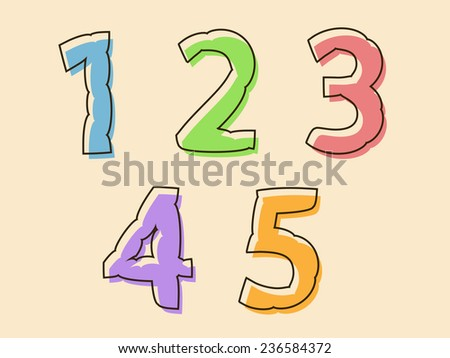 Colorful set of digits or numbers 12345 with a bloated irregular wavy shape in the colors of the rainbow, design element - stock vector