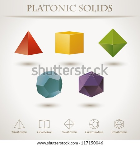 Colorful set of geometric shapes, platonic solids, vector illustration - stock vector