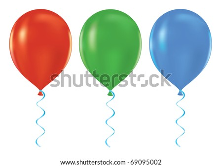 Colorful set of helium balloons 3D vector illustration - stock vector