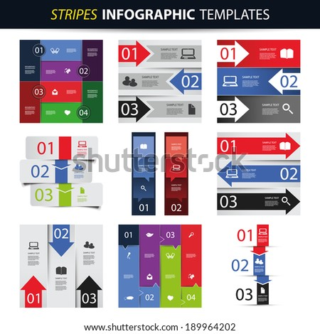 Colorful Set of Infographic Templates - Banners, Charts, Arrows - stock vector