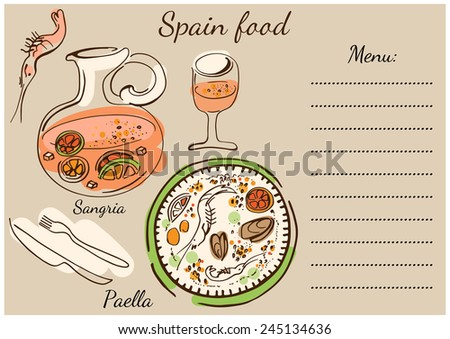 Colorful set of national Spainish dishes. Paella, sangria, wine, shrimp. - stock vector