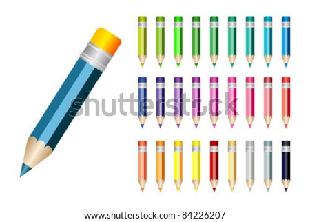 colorful set of pencil icons - stock vector