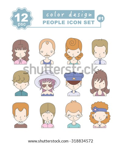 Colorful Set of people icons made in vector. Avatars with different characters. Vector illustration of guys and girls