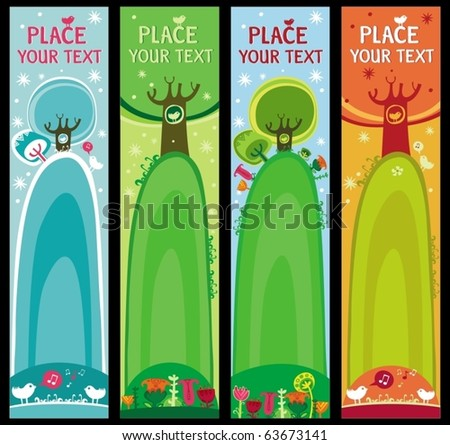 Colorful set of seasonal, natural banners, with space for your text - stock vector