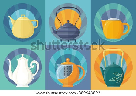 Colorful set of teapots - stock vector