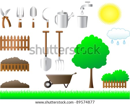 colorful set of tools for house and garden equipment - stock vector