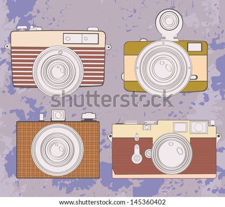 Colorful set of vintage cameras. Vector format - stock vector