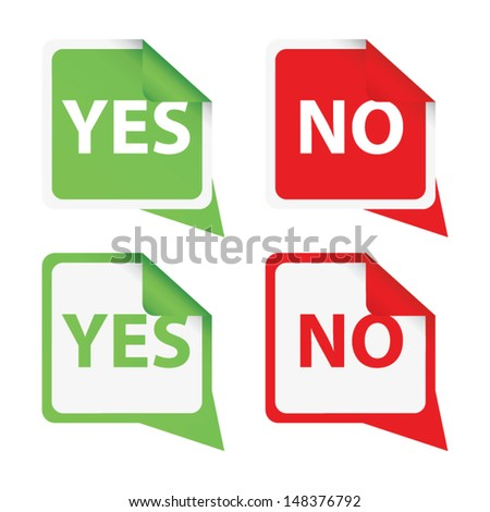 Colorful set of Yes/No signs and stickers. Vector - stock vector