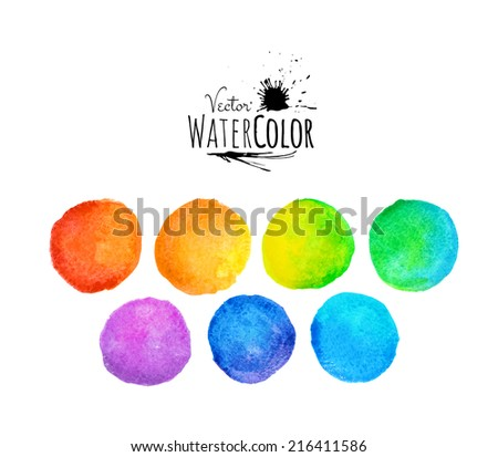 Colorful set vector isolated watercolor paint circles, template background for your design - stock vector