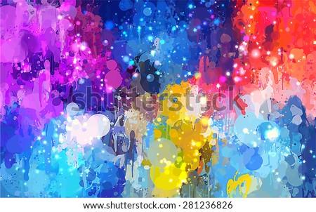 Colorful shine brush strokes background. Vector version - stock vector