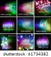 Colorful Shiny Background Set - stock vector