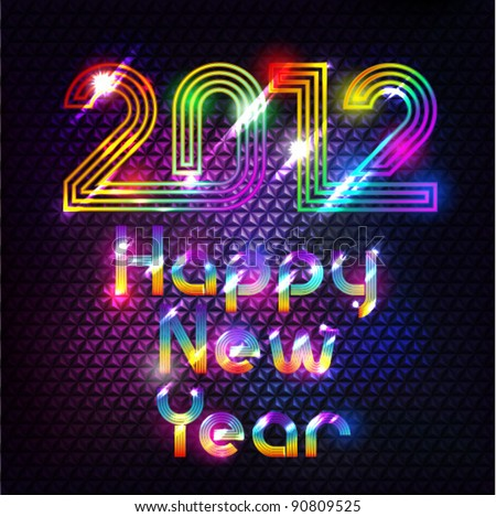 Colorful Shiny 2012 Happy New Year Background - stock vector