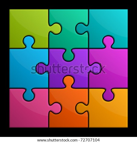 Colorful shiny puzzle vector illustration.  Eps 10. - stock vector