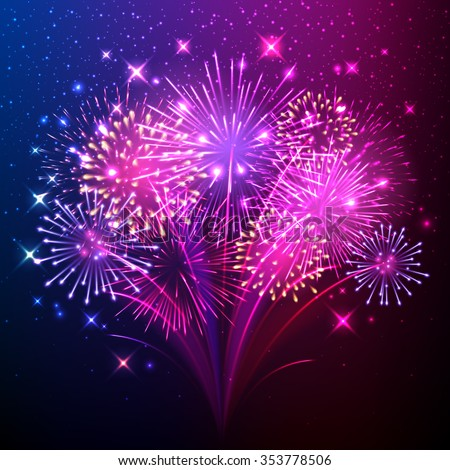 Colorful shiny realistic fireworks bunch background. Vector illustration. Celebration holiday design.