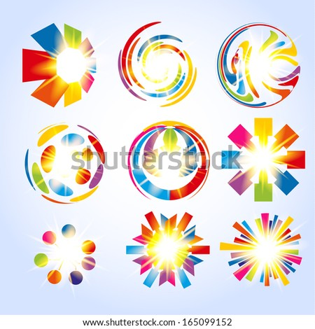Colorful shiny shapes collection. Vector eps10 - stock vector