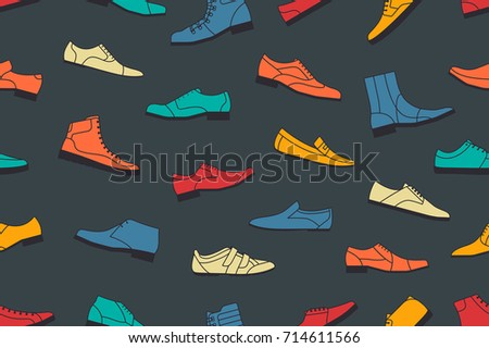 Colorful shoes seamless pattern