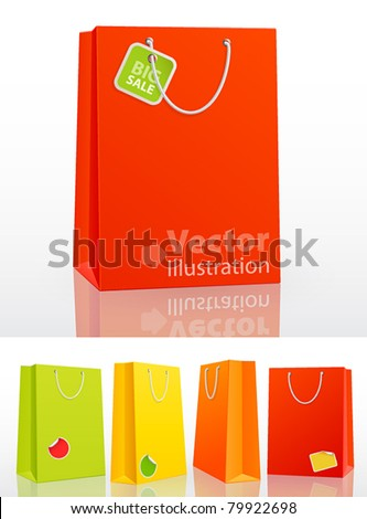 Colorful shopping bag on white background with stickers. Vector illustration. - stock vector