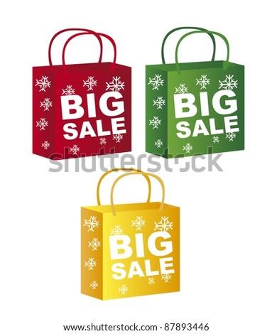 colorful shopping bags christmas. vector - stock vector