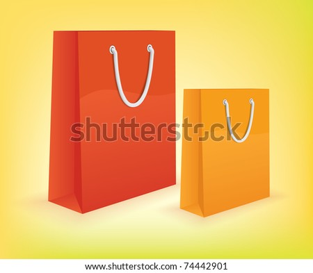 Colorful Shopping bags high detailed 3d vector - stock vector