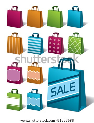 Colorful shopping paper bags - stock vector