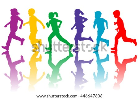 Colorful silhouettes of children running