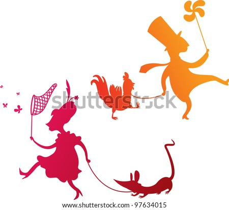 Colorful silhouettes of urban people walking their pets during spring season - stock vector