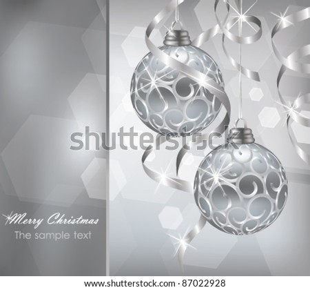 Colorful silver christmas decoration baubles in vector - stock vector