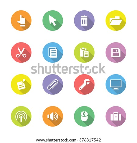 colorful simple flat computer and technology icon set 3 on circle with long shadow for web design, user interface (UI), infographic and mobile application (apps) - stock vector