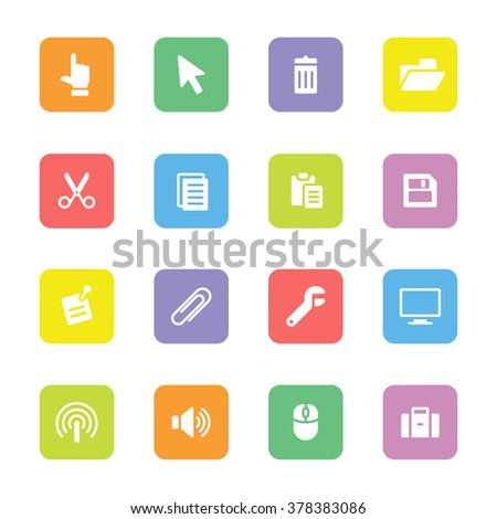 colorful simple flat computer and technology icon set 3 on rounded rectangle for web design, user interface UI, infographic and mobile application (apps) - stock vector