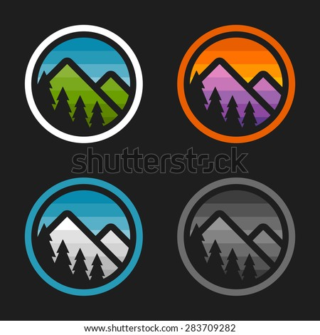 Colorful simple mountain logo badges with cut out trees - stock vector