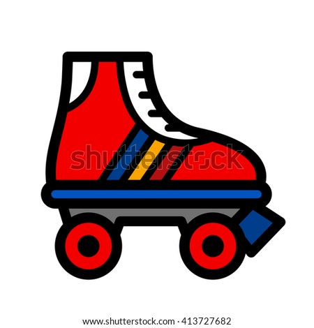 Colorful single roller skate cartoon illustration in a trendy seventies color palette, vector icon isolated on white - stock vector