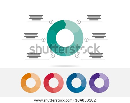 Colorful six sided puzzle presentation infographic diagram chart vector graphic template with explanatory text field isolated on white background - stock vector