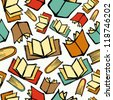 Colorful sketch style books seamless pattern background. Vector illustration layered for easy manipulation and custom coloring. - stock vector