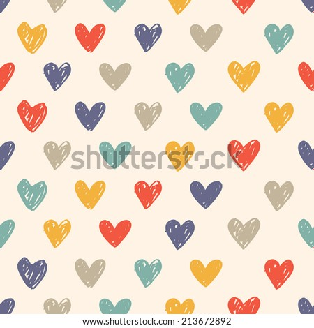 colorful sketchy love pattern  - stock vector