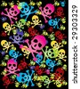 colorful skull background - stock vector