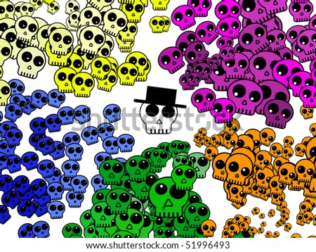 colorful skull background with one cool-skull wearing a hat