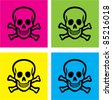 colorful skull icons, signs, vector illustrations - stock photo