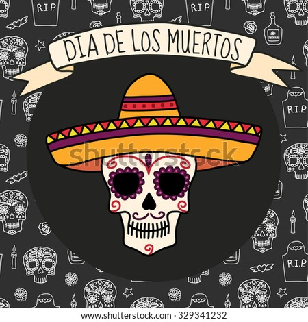 Colorful skull in sombrero on Day of the dead (Halloween) seamless background with skulls, tombstones, tequila, flowers and candles. Vector eps10. - stock vector