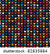 Colorful skulls and hearts on black background - seamless pattern - stock vector
