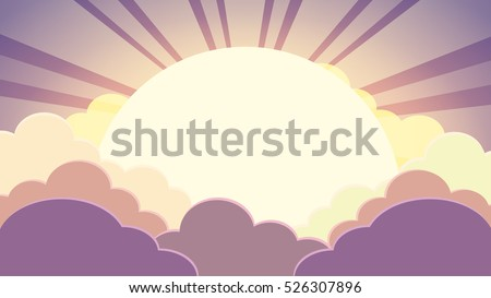 Colorful sky in twilight time background with clouds and sun with rays