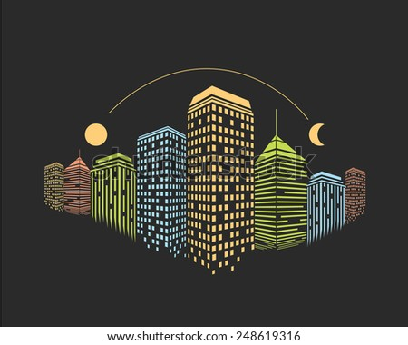 Colorful skyscrapers city vector illustration at night  - stock vector